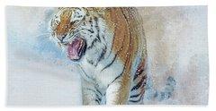 Siberian Tiger In Snow Bath Towel by Brian Tarr