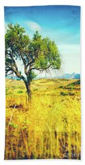 Hand Towel featuring the photograph Sicilian Landscape With Tree by Silvia Ganora
