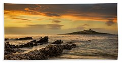 Sicilian Sunset Isola Delle Femmine Hand Towel by Ian Good