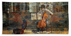 Sidewalk Cellist Hand Towel