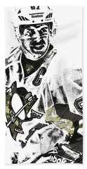 Sidney Crosby Pittsburgh Penguins Pixel Art 4 Bath Towel by Joe Hamilton