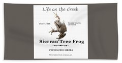 Sierran Tree Frog - Photo Frog, Black Text Bath Towel