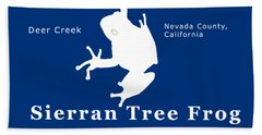 Sierran Tree Frog - White Graphic, White Text Bath Towel