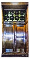 Sights In New York City - Bright Door Hand Towel by Walt Foegelle