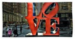 Sights In New York City - Love Statue Hand Towel by Walt Foegelle