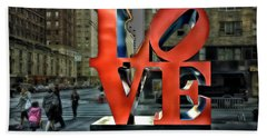Sights In New York City - Love Statue Bath Towel
