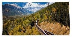 Sightseeing Thru Canadian Rockies Hand Towel