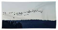Signs Of Spring - Migrating Geese Bath Towel