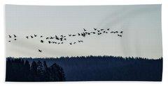 Signs Of Spring - Migrating Geese Bath Towel