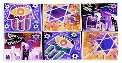 Silberzweig - Scenes Of Israel - Sapphire Coral -  Hand Towel by Sandra Silberzweig