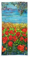 Bath Towel featuring the painting  Silence by Teresa Wegrzyn