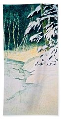 Hand Towel featuring the painting Silent Stream by Carolyn Rosenberger