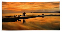 Silhouette And Amazing Sunset In Thassos Bath Towel
