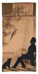 Silhouette Profile Of Artist Charles Fenderich, 1841 Bath Towel