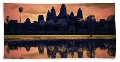 Silhouettes Angkor Wat Cambodia Mixed Media  Bath Towel