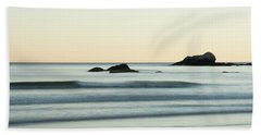 Silky Water And Rocks On The Rhode Island Coast Hand Towel by Nancy De Flon