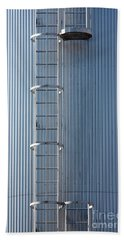 Silver Blue Silo With Steel Ladder. Bath Towel