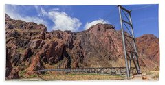 Silver Bridge Over Colorado River - At The Bright Angel Trail Hand Towel