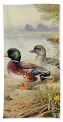 Silver Call Ducks Hand Towel by Carl Donner