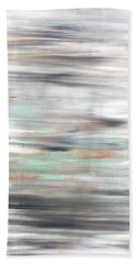 Silver Coast #25 Silver Teal Landscape Original Fine Art Acrylic On Canvas Bath Towel