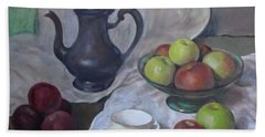 Silver Coffeepot, Apples, Green Footed Bowl, Teacup, Saucer Hand Towel