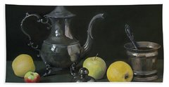 Silver Coffeepot, Silver Jar With Lid  And Apples Bath Towel