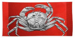 Hand Towel featuring the digital art Silver Crab On Red Canvas by Serge Averbukh