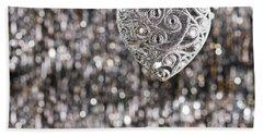 Silver Heart Bath Towel by Ulrich Schade