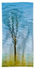 Silver Lake Tree Reflection Hand Towel