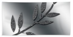 Silver Leaves Abstract Bath Towel