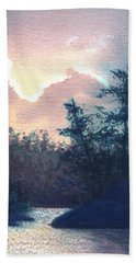 Hand Towel featuring the painting Silver Lining by Lynn Quinn