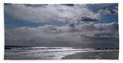 Hand Towel featuring the photograph Silver Linings Trim The Sea by Lynda Lehmann