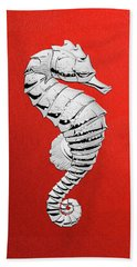 Hand Towel featuring the digital art Silver Seahorse On Red Canvas by Serge Averbukh