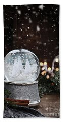 Silver Snow Globe Bath Towel