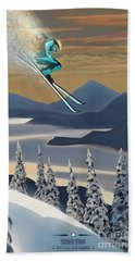 Silver Star Ski Poster Bath Towel