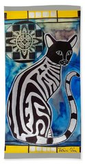 Hand Towel featuring the painting Silver Tabby With Mandala - Cat Art By Dora Hathazi Mendes by Dora Hathazi Mendes