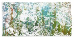 Silver Trashed Cans Painting Over Photo Hand Towel