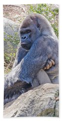 Hand Towel featuring the photograph Silverback Gorilla  by Donna Brown