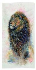 Bath Towel featuring the painting Simba by Zaira Dzhaubaeva