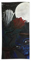 Hand Towel featuring the painting Similar Alien Appreciates Flowers By The Light Of The Full Moon. by Similar Alien
