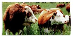 Simmental Bull And Hereford Cow Bath Towel by Larry Campbell