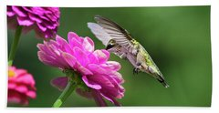 Hand Towel featuring the photograph Simple Pleasure Hummingbird Delight by Christina Rollo