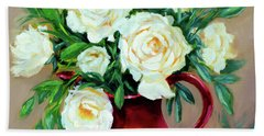 Simple White Roses Bath Towel