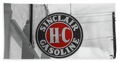 Sinclair Gasoline Round Sign In Selective Color Bath Towel