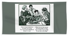 Sing A Song Of Sixpence Nursery Rhyme Bath Towel by Marian Cates