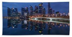 Singapore Skyline Reflection Bath Towel