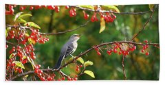 Hand Towel featuring the photograph Singing For His Supper - Northern Mockingbird In The Berries by Kerri Farley
