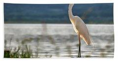 Singing White Egret Bath Towel