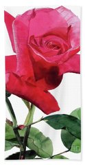Single Bright Pink Rose Unfolding Bath Towel