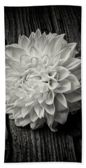 Single Dahlia In Black And White Hand Towel